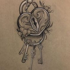 Minus the jewel in key. Minus the chipped pieces. add names. Padlock Tattoo, Heart Lock Tattoo, Lock Key Tattoos, Key Tattoo Designs, Sister Tattoo Designs, Sketch Tattoo Design, Cute Tattoos, Body Art Tattoos, Sleeve Tattoos