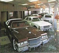 1976 Cadillacs in the showroom Used Car Lots, Chevrolet Dealership, Gm Car, Cadillac Fleetwood, Cadillac Eldorado, Buick, Vintage Cars, Dream Cars, Classic Cars