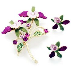 Fuchsia Orchid With Pearl Swarovski Crystal Flower Pin Brooch And Earrings Gift Set Fantasyard. $35.99. Gift box available for an additional fee. Please check out through gift-wrap option. Exquisitely detailed designer style. Other color available. Save 29% Off!