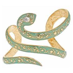 Florentine Serpent Enamel Cuff Sea Foam ($178) ❤ liked on Polyvore featuring jewelry, bracelets, accessories, bijoux, jewels, hand made jewelry, cuff bangle bracelet, handmade jewellery, bangle bracelet and hinged bracelet