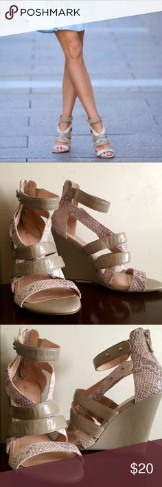 """Sole Society Rocio Wedges Worn only once. Snake print and tan color. Open toe wedge with interwoven straps for a bold caged look and finished with a back zipper. Material: Leather Heel Height: 4"""" Fit: True to size Shoe Width: Medium Sole Society Shoes Wedges"""