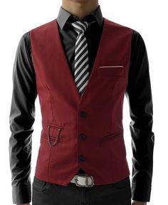 Mens Slim Fit 3 Button Vest