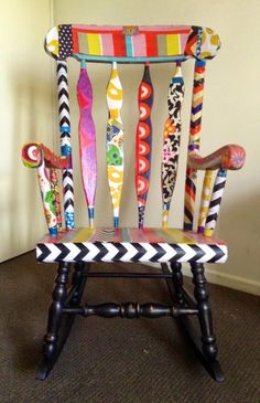 Hand Painted Funky, Whimsical Dresser with Large Studded . Whimsical Painted Furniture, Hand Painted Furniture, Funky Furniture, Recycled Furniture, Paint Furniture, Furniture Makeover, Painted Rocking Chairs, Hand Painted Chairs, Decoupage Chair