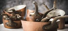 Handcrafted in Belgium. Copper Pots, Antique Copper, French Vintage, Belgium, Cookware, Tea Pots, Candle Holders, Kitchenette, Kitchen Stuff