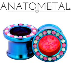 """1/2"""" Super Gemmed Eyelets in ASTM F-136 titanium, anodized teal; synthetic Opal #17, synthetic Opal #55 gems"""