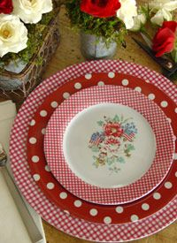 "Dots, checks & flowers dishes. ""Picket Fence Melamine Dinnerware"" - I've loved these since I first saw them on Pinterest and wish I had a way to use them! So cute!!!!"