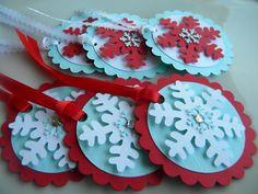 Snowflake Tags (red / aqua / white) ... set of 6. $5.00, via Etsy.