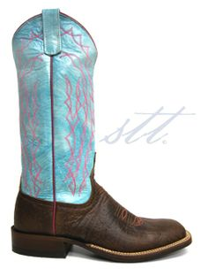 "Anderson Bean Women's ""Marfalous"" Turquoise Chocolate Bison Boots -- Happy Spring! Make sure you have your pastel cowboy boots this Spring! 