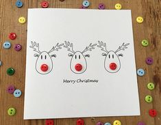 This cute card has 3 hand drawn Rudolfs with red button noses and Merry Christmas printed underneath. This card is also available in a set of 4 and 12 cards. All my cards can be personalised or a message added on the front! Just add the item Personalise your card in my shop to your