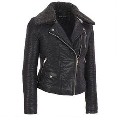 Black Rivet Faux-Leather Bubble Cycle Jacket w/Faux-Sherpa Collar