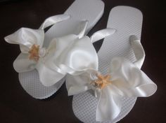 Wedding Flip Flops/Wedges for Bride and by RocktheFlops on Etsy, $38.00