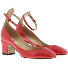 Valentino Pumps - Tan-Go Lace Up Pumps Patent Leather Fragola - in red... (€340) ❤ liked on Polyvore featuring shoes, pumps, red, red strap pumps, red shoes, strappy pumps, red patent leather pumps and tan pumps