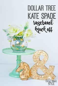 dollar store polka dot gold rosebowl vase inspired by kate spade