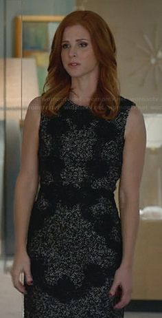 Donna's grey tweed dress with black lace applique on Suits.  Outfit Details: http://wornontv.net/28746/ #Suits