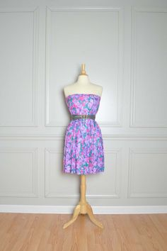 SALE Vintage Pink and Purple Painterly Floral Skirt Tube Dress M L. $23.00, via Etsy.