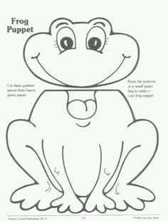 This fun frog puppet is easy to assemble and color for surefire fun. Use to enhance a unit on amphibians, life cycles, and more! Daycare Crafts, Preschool Crafts, Crafts For Kids, Activities For Kids, Art For Kids, Preschool Christmas, Kid Art, Christmas Crafts, Frog Puppet