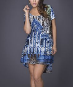 Blue Abstract Hi-Low Dress