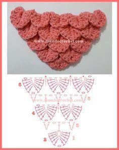 Como tejer el punto cocodrilo o escama a crochet o ganchillo patron o diagrama aumentos                                                                                                                                                                                 Más