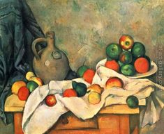 Still life, drapery, jug and fruits Paul Cezanne Reproduction   1st Art Gallery
