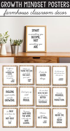 These growth mindset posters for kids and teachers will look great in your rustic or farmhouse themed classroom decor. They will help you add a little something to your lessons for preschool, kindergarten, first grade grade), elementary and middle sc Middle School Classroom, Classroom Setting, Classroom Door, Classroom Setup, Classroom Design, Future Classroom, Classroom Organization, Diy Organization, Modern Classroom