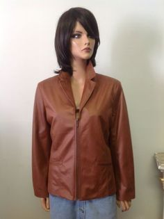 Chico's Leather Look Cognac Jacket Designer Fashion Stylish Chic