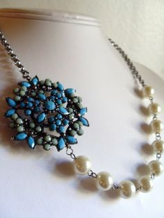 Vintage inspired Turquoise Brooch and White Glass Pearl Necklace, Wedding, Snowflake, OOAK, Statement bib necklace