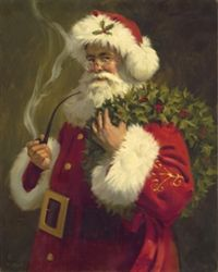 Old St. Nick by Tom Browning - Santa smoking long pipe with wreath around shoulder