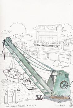 Grua puerto pesquero