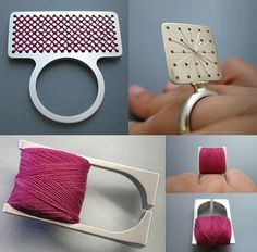 cross stitch rings by Bernadett Bodor http://www.bodorbernadett.hu/ #textile #wearable_art #jewelry #jewellery