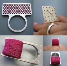 cross stitch rings by Bernadett Bodor http://www.bodorbernadett.hu/ #textile #wearable_art #jewelry #jewellery