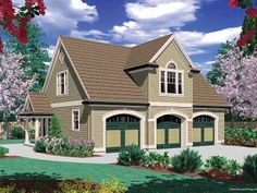 Eplans Garage Plan - Two Bedroom Guest Suite over 3 Car Plan - 885 Square Feet and 2 Bedrooms from Eplans - House Plan Code Guest House Plans, Unique House Plans, Small House Plans, Plan Garage, Garage Floor Plans, House Floor Plans, Garage Ideas, Garage With Living Quarters, Garage To Living Space