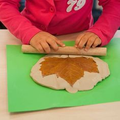 Clay leaf print making