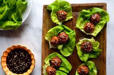 Baked Asian Chicken Meatball Lettuce Wrap