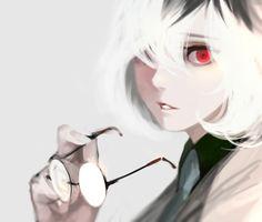 Tokyo Kushu, Sasaki Haise, Holding Object, One Eye Showing, Glasses In Hand