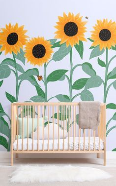 Create a cute bedroom for your little one with this charming sunflower butterfly wallpaper, a fresh floral design. Mural Floral, Flower Mural, Floral Wall, Sunflower Wallpaper, Butterfly Wallpaper, Butterfly Nursery, Simple Flowers, Nursery Neutral, Kids Decor