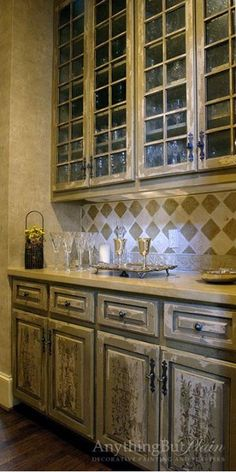 Stenciled Cabinet Doors with Rustic Finish | Parisian Urn Classic Panel Stencil | Janie Ellis of Anything But Plain Decorative Finishes and Plasters!