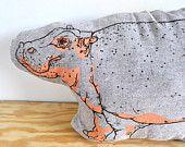 Pillow - The Audacious Hippopotamus - Plush - Screenprinted