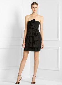 Sheath/Column Strapless Short/Mini Taffeta Cocktail Dress With Ruffle