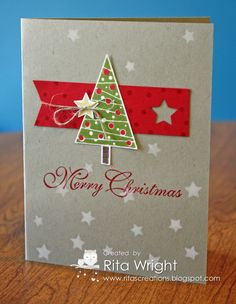 Rita's fun card: Festival of Trees & its punch, Stars Decorative Mask, Itty Bitty Accents star punch, & more. All supplies from Stampin' Up!