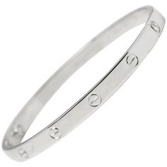 Preowned Cartier White Gold Love Bangle (25.355 RON) ❤ liked on Polyvore featuring jewelry, bracelets, bangles, white, hinged bracelet, white gold bangle, white jewelry, cartier bangle and bangle bracelet