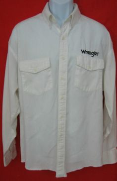 WRANGLER MENS EMBROIDERED LONG SLEEVE BUTTON UP WESTERN RODEO DRESS SHIRT XLT
