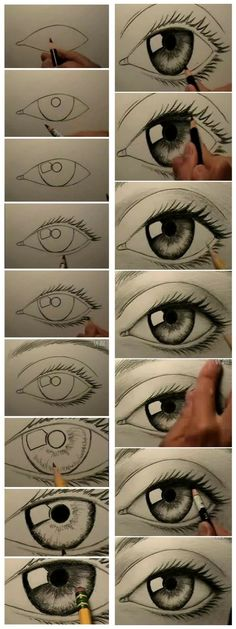Secrets Of Drawing Realistic Pencil Portraits - how to draw eyes .in case you didnt know. who wouldnt know?o) Secrets Of Drawing Realistic Pencil Portraits - Discover The Secrets Of Drawing Realistic Pencil Portraits Realistic Eye Drawing, Drawing Eyes, Painting & Drawing, Manga Drawing, Human Eye Drawing, Easy Eye Drawing, Iris Drawing, Diy Painting, Eyeball Drawing