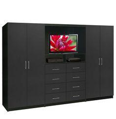 Aventa TV Wall Unit for Bedrooms - Free Standing Bedroom Wardrobe Unit