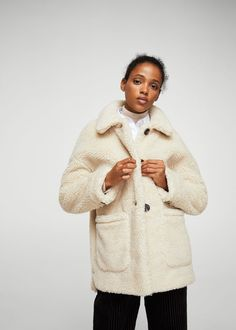 Faux shearling-lined coat -  Women | MANGO USA