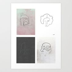 One line Starwars Poster Art Print by quibe - $22.88