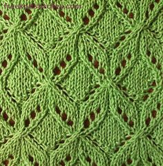 Bows knitting stitches - change to seed st in the middle of the square and it looks like Umaro by Jared Flood Lace Knitting Stitches, Lace Knitting Patterns, Knitting Charts, Lace Patterns, Loom Knitting, Free Knitting, Stitch Patterns, Knit Crochet, Knitting Projects