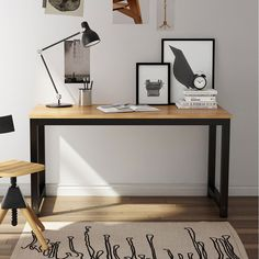 Tribesigns Computer Desk, 55 inch Large Office Desk Computer Table Study Writing Desk for Home Office, Black + Black Leg Large Office Desk, Small Space Office, Office Space Design, Modern Office Design, Home Office Space, Modern Desk, Small Spaces, Office Desks, Large Computer Desk