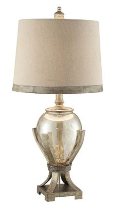 """Crestview Collection Hawthorne Glass Table Lamp. Hawthorne Table Lamp. Hawthorne Table Lamp 33"""" Height .,Glass and Resin and Metal Toasted Silver Finish 14 x 16 x 12 Taupe Silk Shade. Size 16x12x16."""