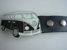 Camper van VW bus peace sign belt buckle with genuine leather snap on belt Waist 28 - 52 -  belt buckles by Festivalfashionstall on Etsy