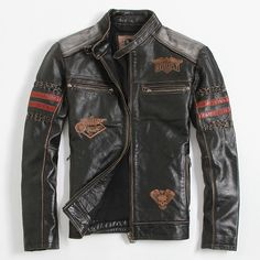 Find More Leather & Suede Information about Men's Leather Jacket Skull…